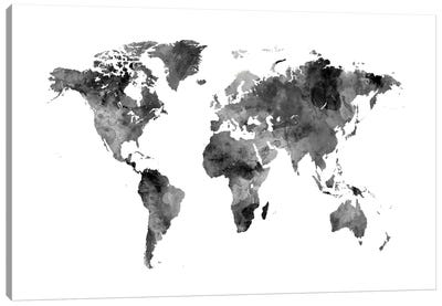 Shades Of Grey (w/o Antarctica) Canvas Art Print