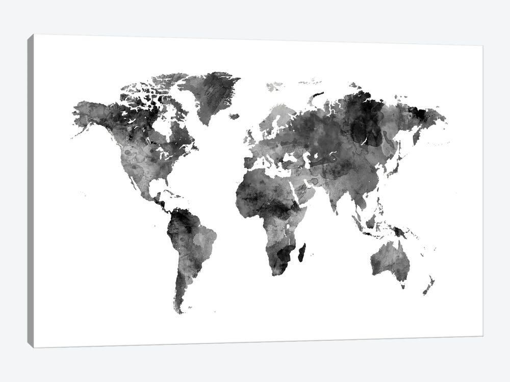 World Map Series: Shades Of Grey (w/o Antarctica) by Michael Tompsett 1-piece Canvas Artwork