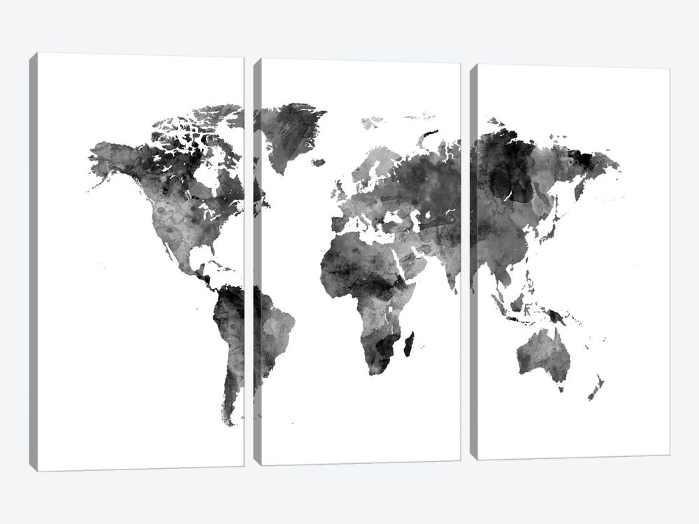 World Map Series: Shades Of Grey (w/o Antarctica) by Michael Tompsett 3-piece Canvas Art