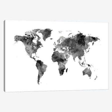 Shades Of Grey (w/o Antarctica) Canvas Print #MTO471} by Michael Tompsett Canvas Artwork