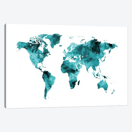 Shades Of Teal (w/o Antarctica) Canvas Print #MTO473} by Michael Tompsett Canvas Art