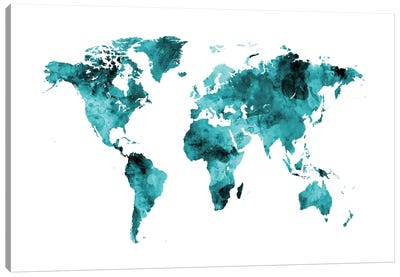 World Map Series: Shades Of Teal (w/o Antarctica) Canvas Print #MTO473