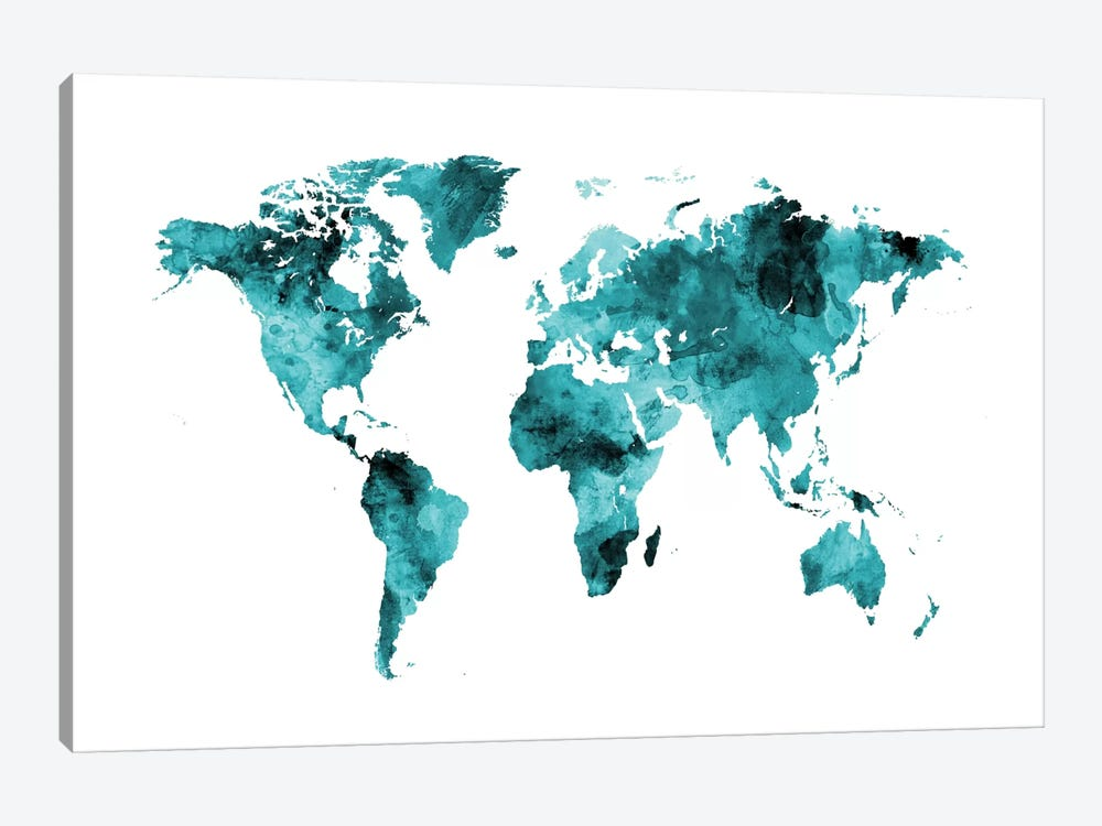World Map Series: Shades Of Teal (w/o Antarctica) by Michael Tompsett 1-piece Canvas Artwork