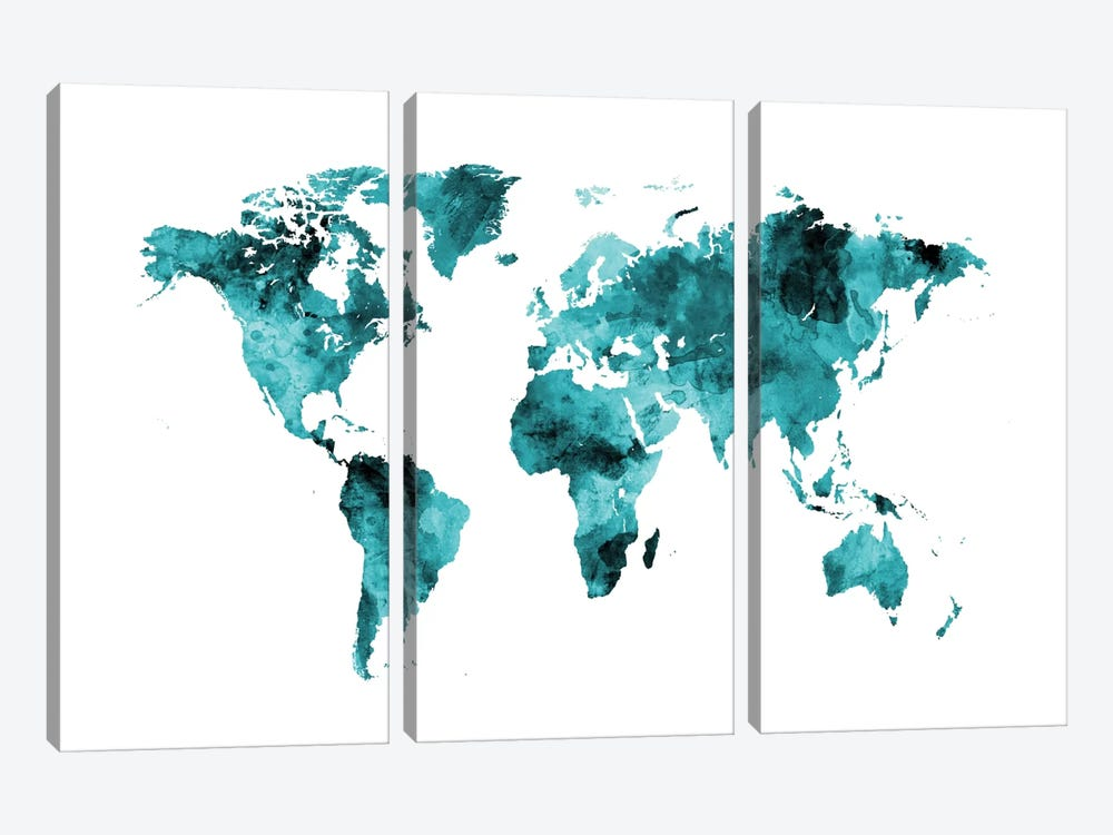 World Map Series: Shades Of Teal (w/o Antarctica) by Michael Tompsett 3-piece Canvas Art