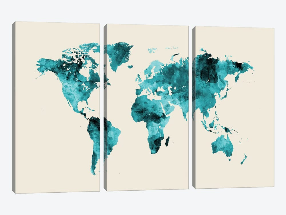 World Map Series: Shades Of Teal On Beige (w/o Antarctica) by Michael Tompsett 3-piece Canvas Print