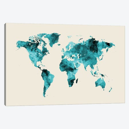 Shades Of Teal On Beige (w/o Antarctica) Canvas Print #MTO474} by Michael Tompsett Art Print