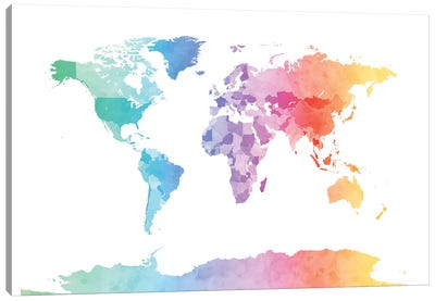 World Map Series: Soft Watercolors Canvas Print #MTO475