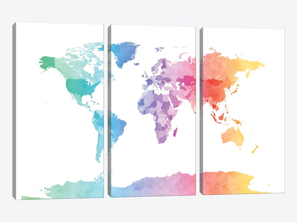World Map Series: Soft Watercolors by Michael Tompsett 3-piece Canvas Artwork