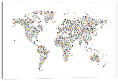 World Map Series: Stars For All Canvas Print #MTO478