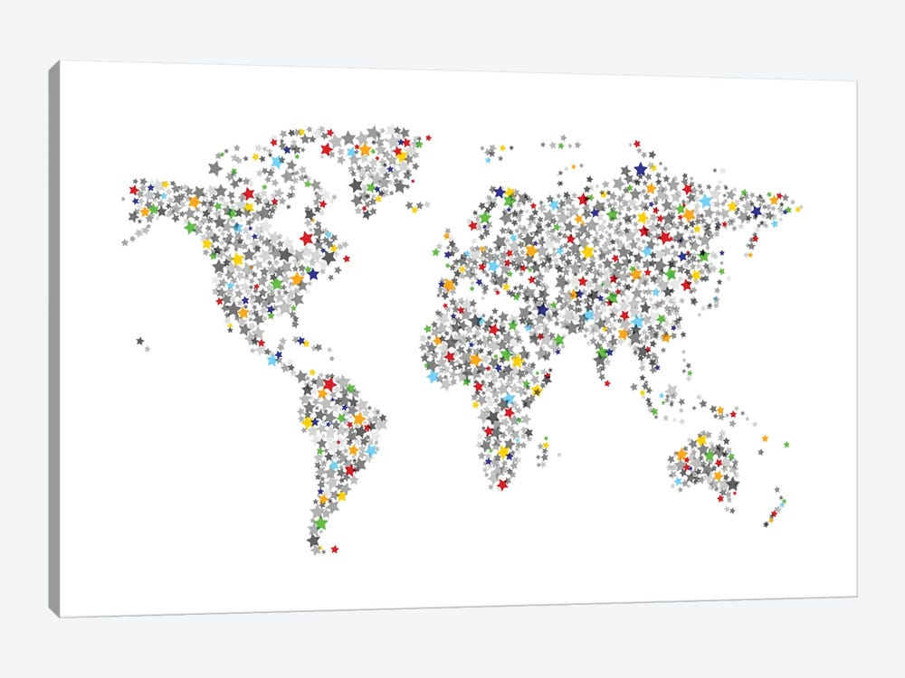 World Map Series: Stars For All by Michael Tompsett 1-piece Art Print