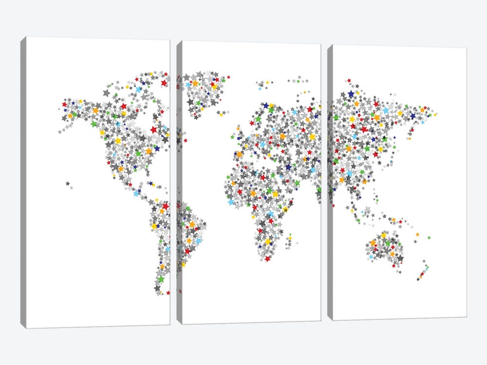 World Map Series: Stars For All by Michael Tompsett 3-piece Canvas Print