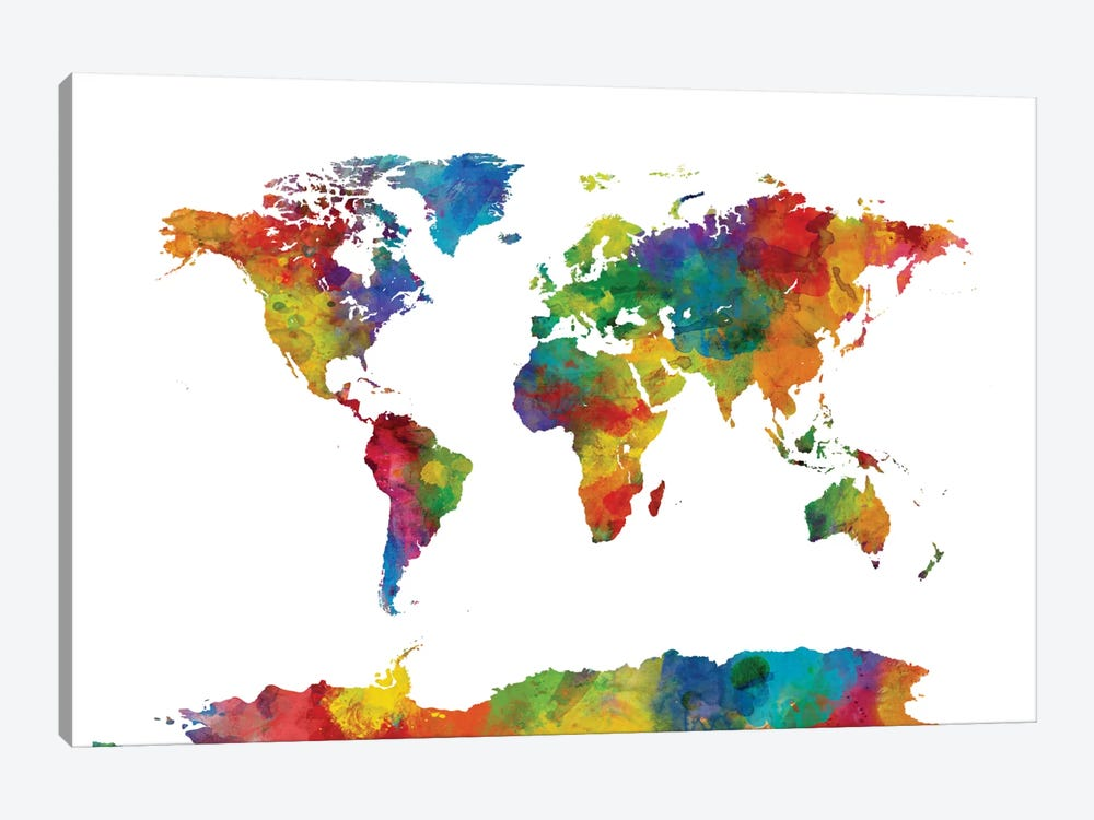 World Map Series: Strong Watercolors I by Michael Tompsett 1-piece Canvas Artwork