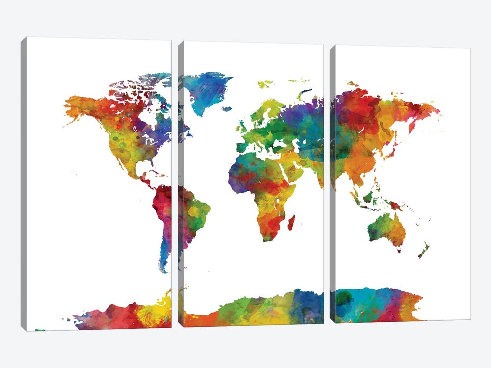 World Map Series: Strong Watercolors I by Michael Tompsett 3-piece Canvas Artwork