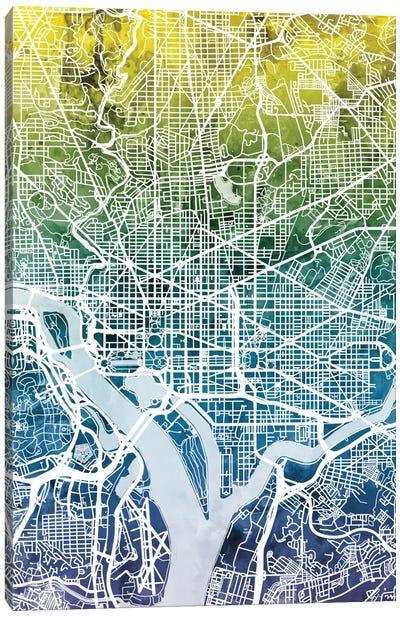 Color Gradient Urban Street Map Series: Washington, D.C., USA Canvas Print #MTO47