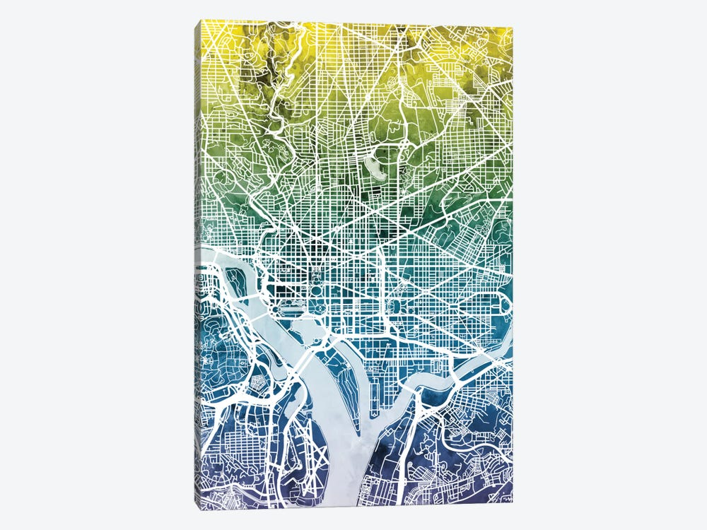 Color Gradient Urban Street Map Series: Washington, D.C., USA by Michael Tompsett 1-piece Canvas Artwork