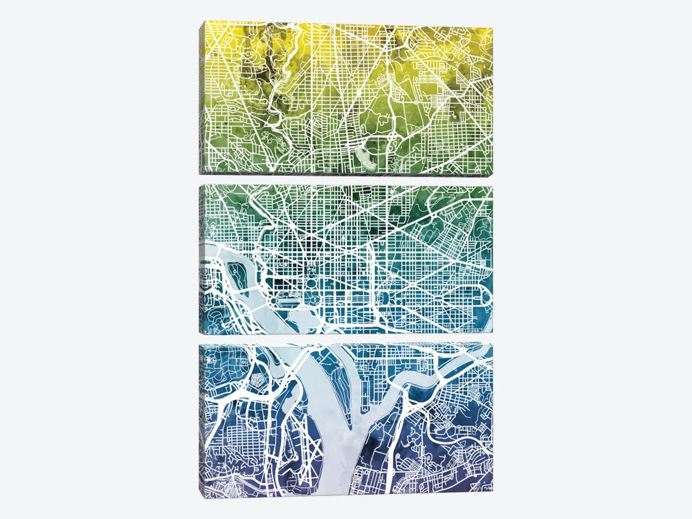 Color Gradient Urban Street Map Series: Washington, D.C., USA by Michael Tompsett 3-piece Canvas Art