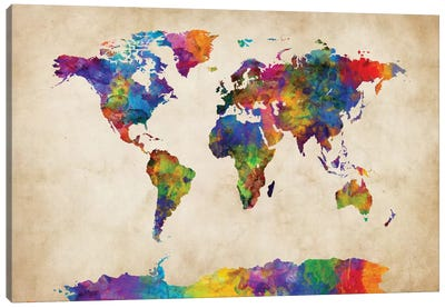 World Map Series: Strong Watercolors II Canvas Print #MTO481