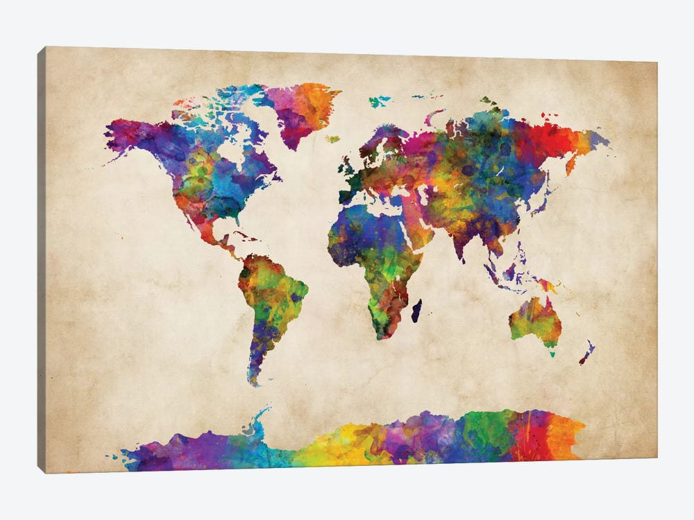 World Map Series: Strong Watercolors II by Michael Tompsett 1-piece Canvas Art Print