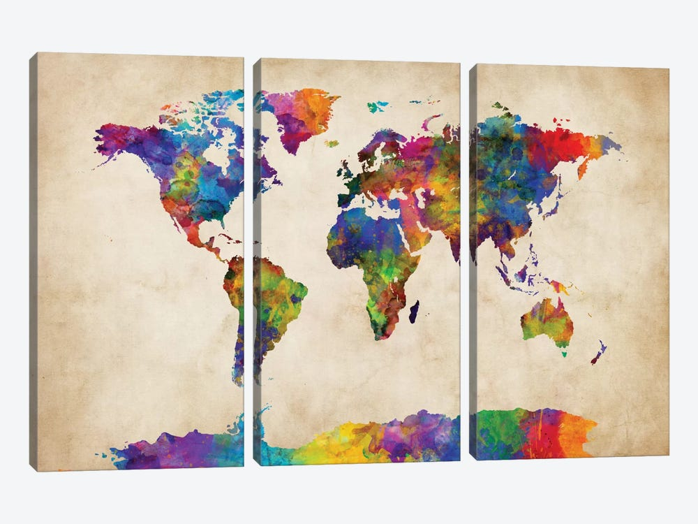 World Map Series: Strong Watercolors II by Michael Tompsett 3-piece Art Print