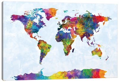 World Map Series: Strong Watercolors III Canvas Print #MTO482