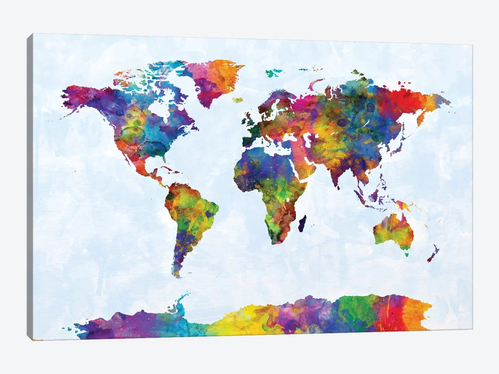 World Map Series: Strong Watercolors III by Michael Tompsett 1-piece Canvas Wall Art