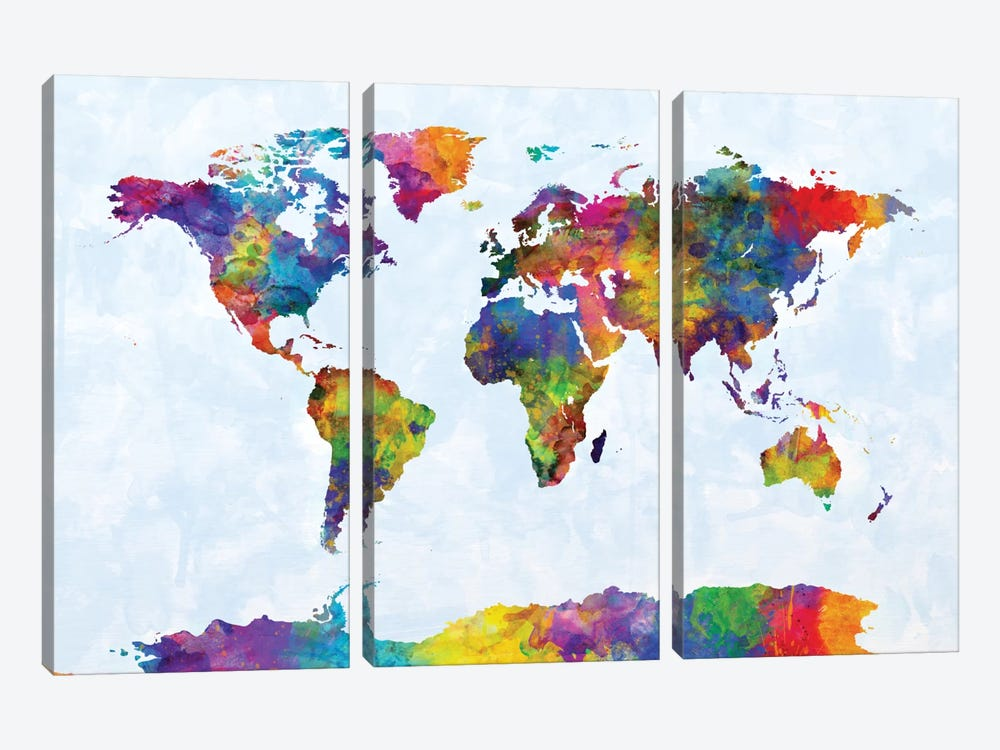 World Map Series: Strong Watercolors III by Michael Tompsett 3-piece Canvas Art