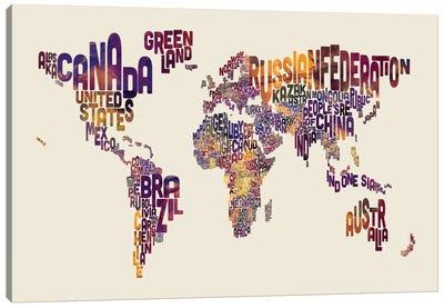 World Map Series: Typography I Canvas Print #MTO483