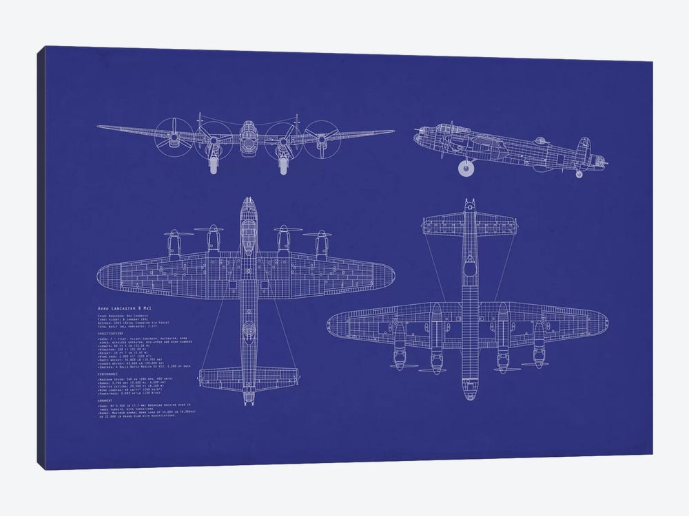Avro Lancaster B Mk.I Blueprint by Michael Tompsett 1-piece Canvas Artwork
