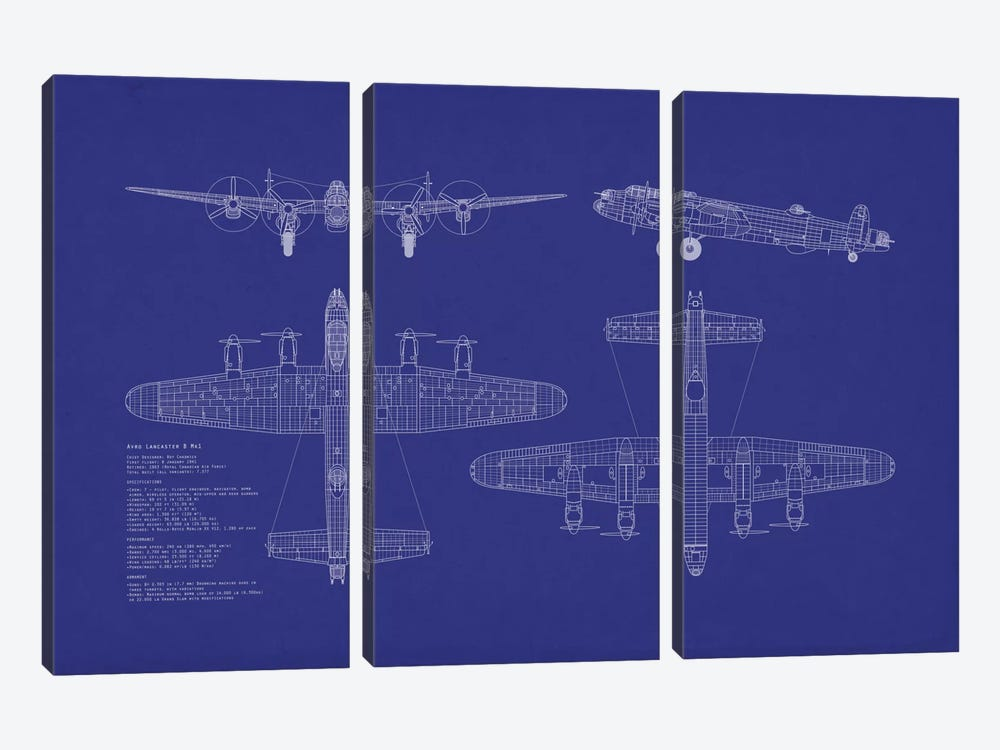 Avro Lancaster B Mk.I Blueprint by Michael Tompsett 3-piece Canvas Artwork