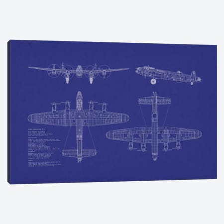 Avro Lancaster B Mk.I Blueprint Canvas Print #MTO484} by Michael Tompsett Canvas Wall Art
