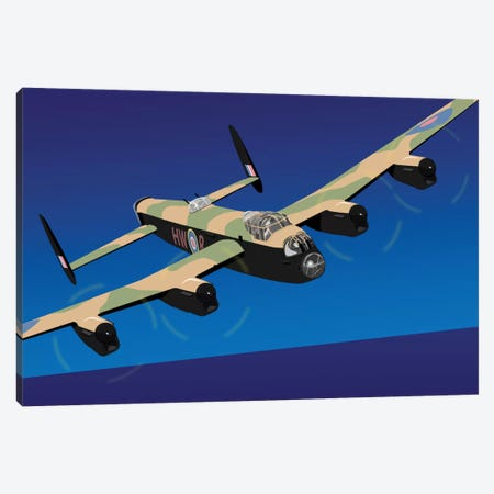 Avro Lancaster Heavy Bomber Canvas Print #MTO485} by Michael Tompsett Canvas Artwork