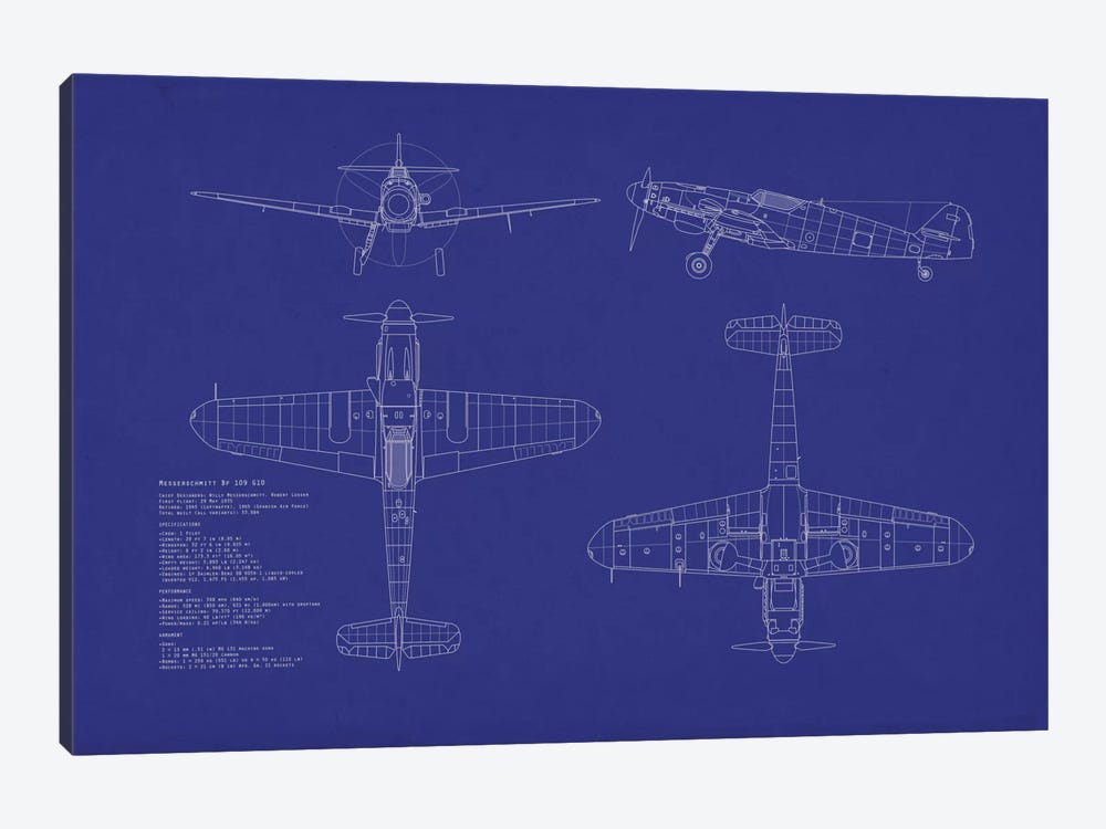 Messerschmitt Bf 109 G-10 Blueprint by Michael Tompsett 1-piece Canvas Wall Art