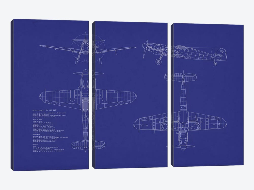 Messerschmitt Bf 109 G-10 Blueprint by Michael Tompsett 3-piece Canvas Wall Art
