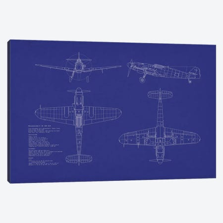 Messerschmitt Bf 109 G-10 Blueprint Canvas Print #MTO486} by Michael Tompsett Canvas Wall Art