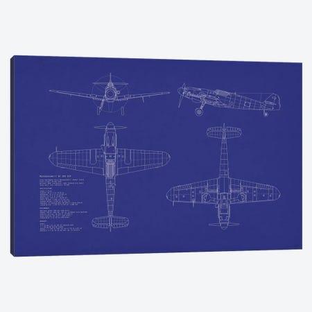 Messerschmitt Bf 109 G-10 Blueprint Canvas Print #MTO486} by Michael Tompsett Canvas Wall Art
