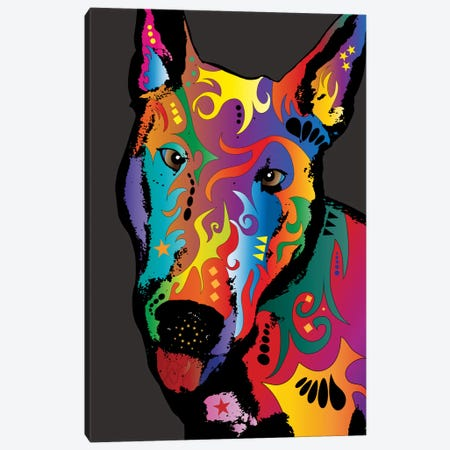 Rainbow Bull Terrier Canvas Print #MTO488} by Michael Tompsett Art Print