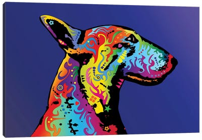 Rainbow Bull Terrier Profile Canvas Art Print