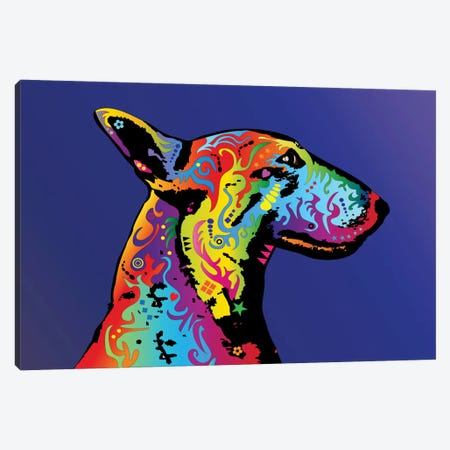 Rainbow Bull Terrier Profile Canvas Print #MTO489} by Michael Tompsett Canvas Art Print