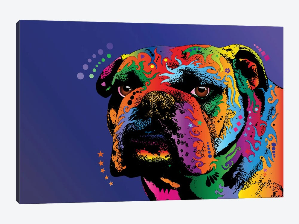 Rainbow Bulldog by Michael Tompsett 1-piece Canvas Art Print