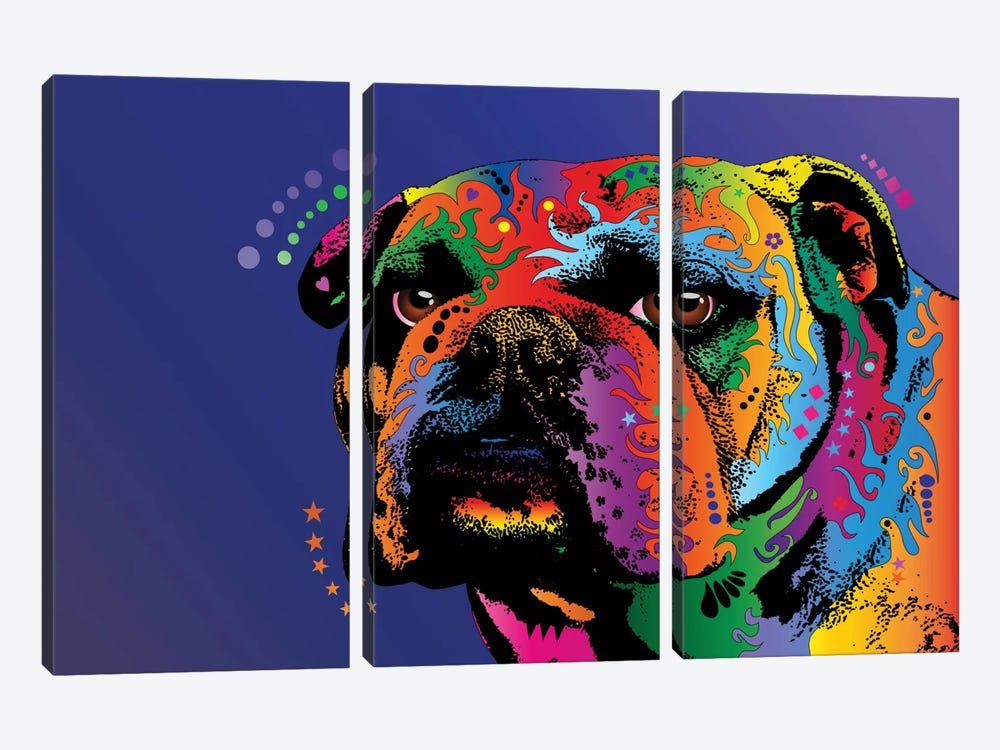 Rainbow Bulldog by Michael Tompsett 3-piece Canvas Art Print