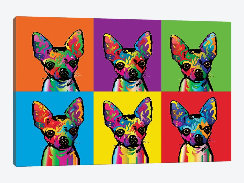 Rainbow Chihuahua Line-Up by Michael Tompsett 1-piece Canvas Artwork