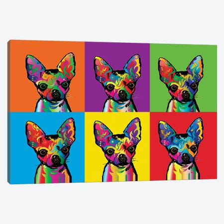 Rainbow Chihuahua Line-Up Canvas Print #MTO491} by Michael Tompsett Canvas Wall Art
