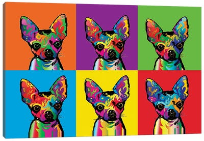 Rainbow Chihuahua Line-Up Canvas Art Print