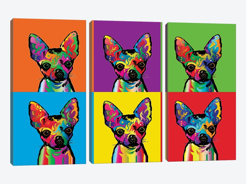 Rainbow Chihuahua Line-Up by Michael Tompsett 3-piece Canvas Wall Art