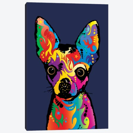 Rainbow Chihuahua On Blue Canvas Print #MTO492} by Michael Tompsett Canvas Artwork