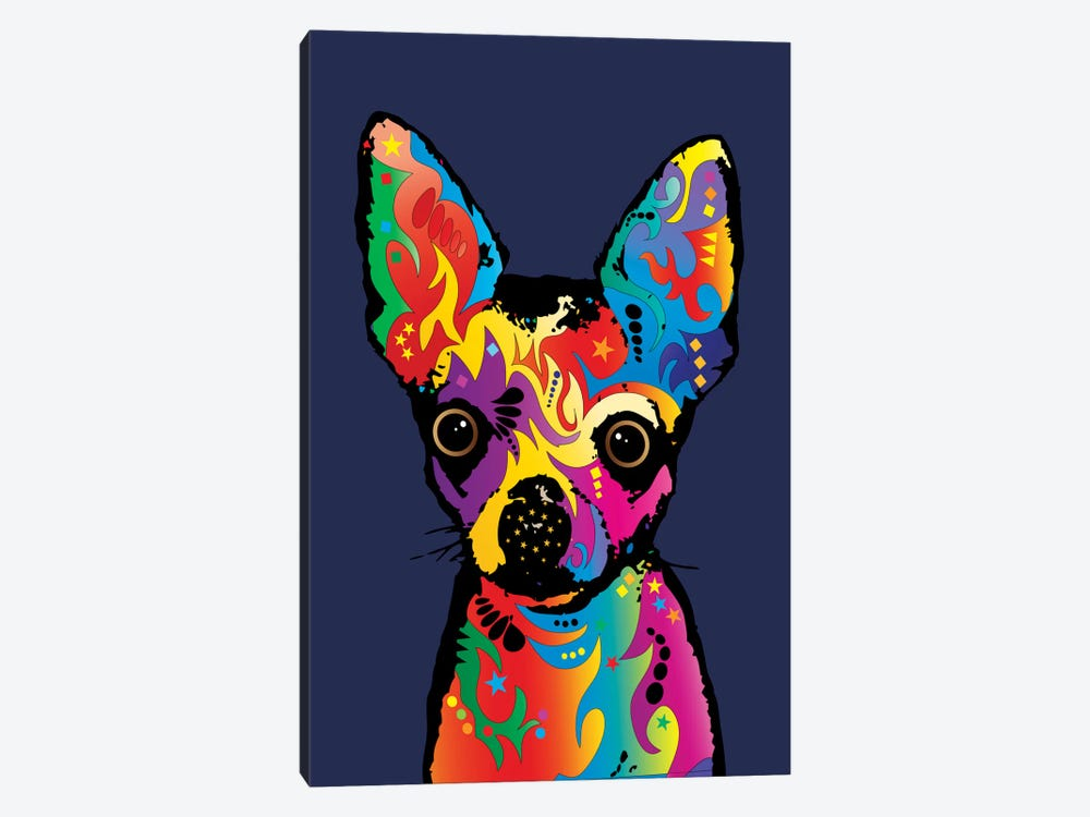 Rainbow Chihuahua On Blue by Michael Tompsett 1-piece Canvas Print
