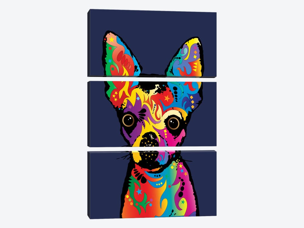 Rainbow Chihuahua On Blue by Michael Tompsett 3-piece Canvas Print
