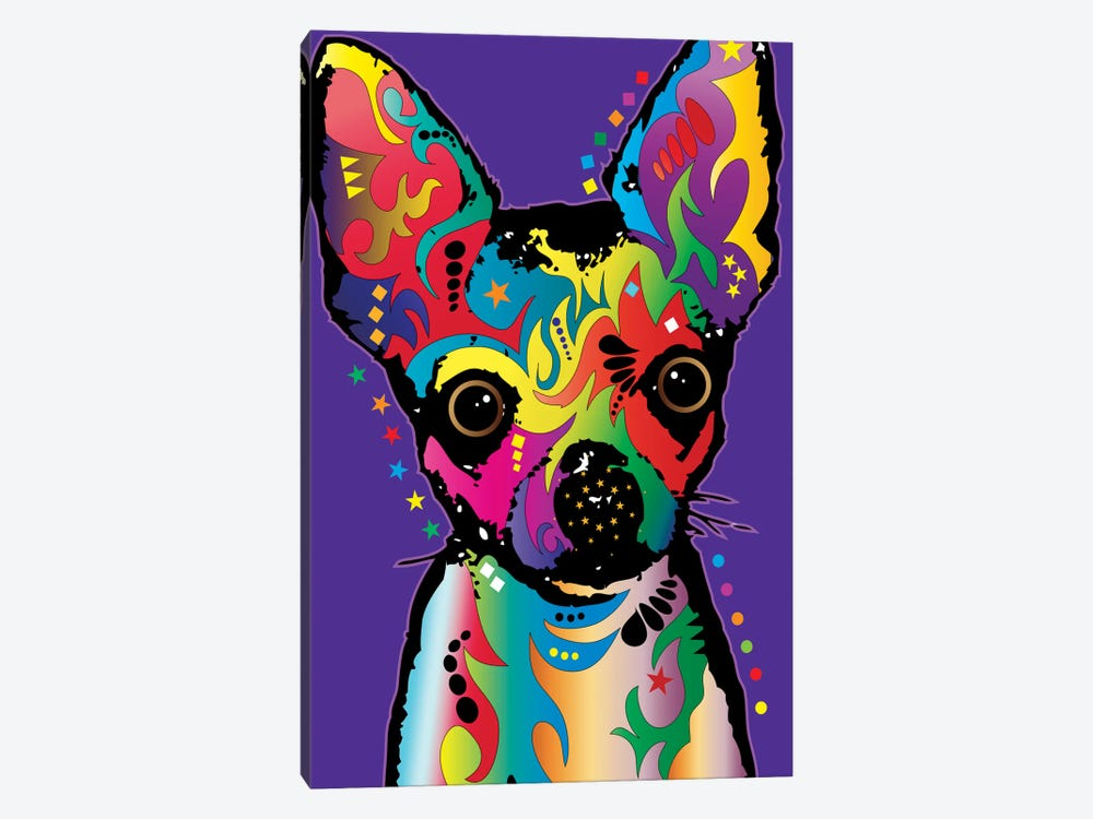 Rainbow Chihuahua On Grape by Michael Tompsett 1-piece Canvas Artwork