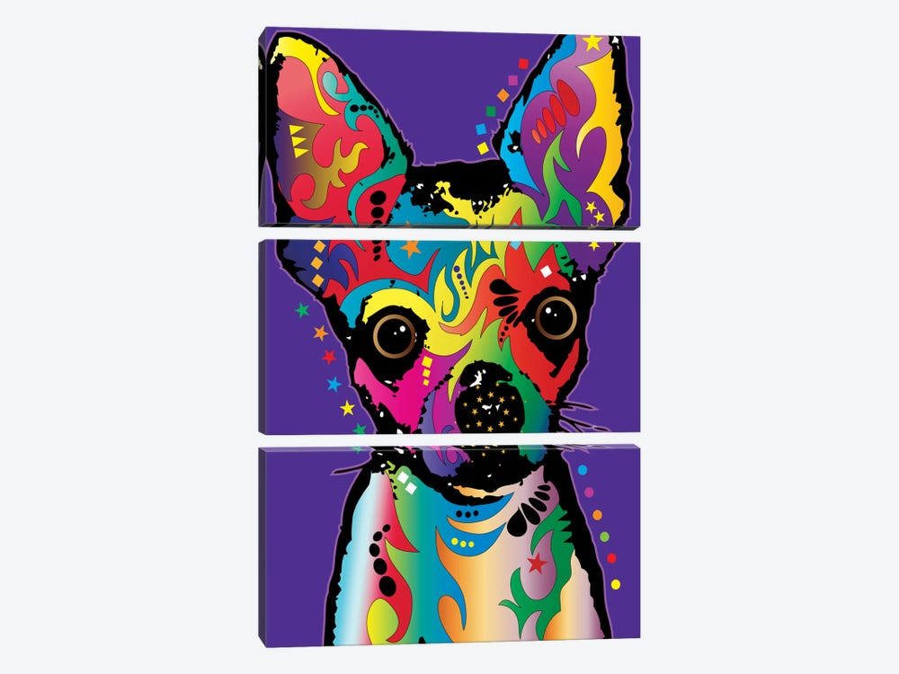 Rainbow Chihuahua On Grape by Michael Tompsett 3-piece Canvas Wall Art