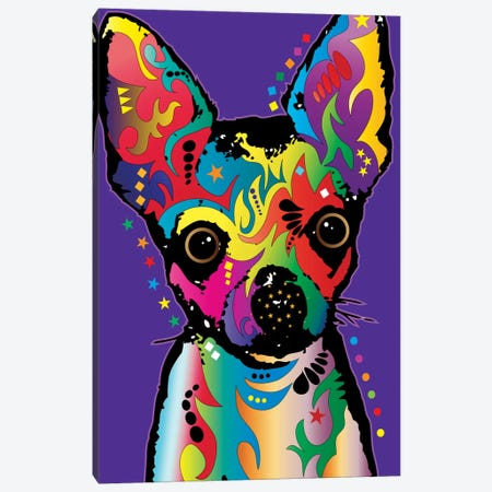 Rainbow Chihuahua On Grape Canvas Print #MTO493} by Michael Tompsett Canvas Wall Art